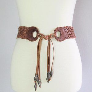 Vintage woven brown leather fringe waist tie belt